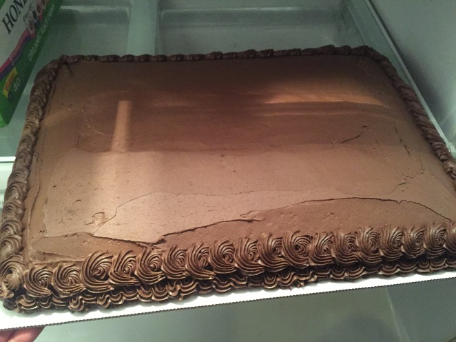 Vanilla Nutella cake with chocolate frosting