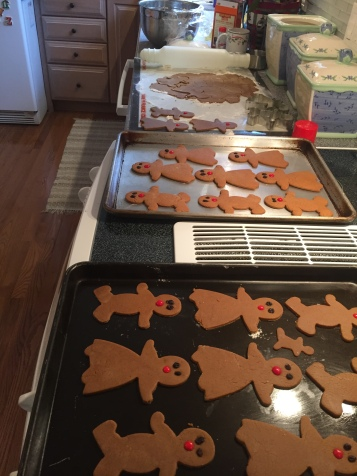 Gingerbread people before baking